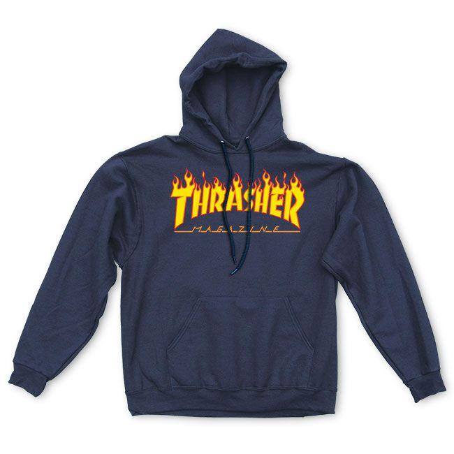 Thrasher |Flame Logo Hood (Navy)