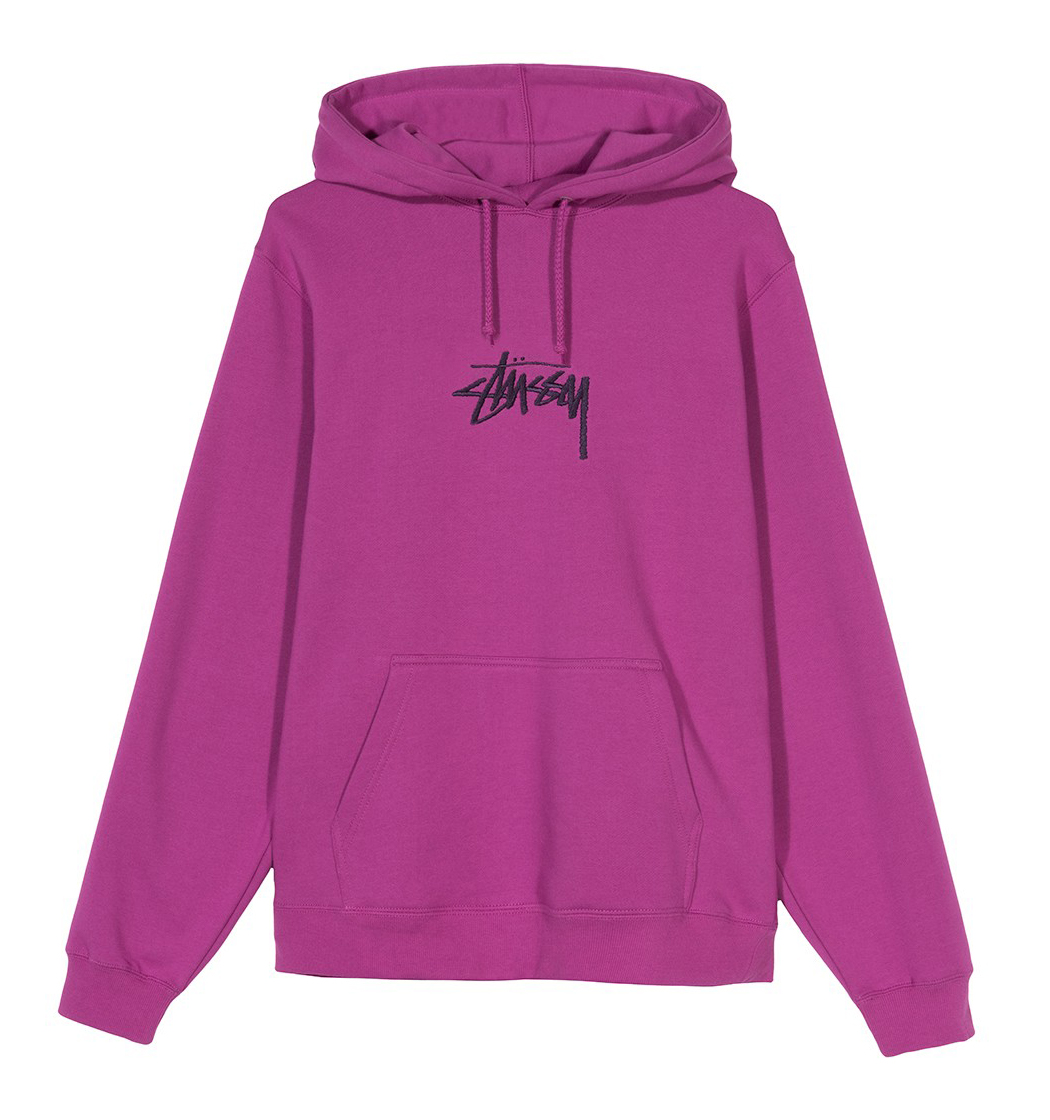 Stüssy   Stock Logo Applique Hood (Berry)