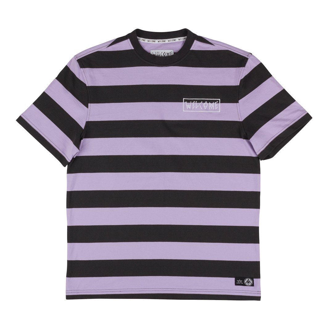 Welcome | Big Beautiful Stripe Short Sleeve Knit (Black/Lavender)