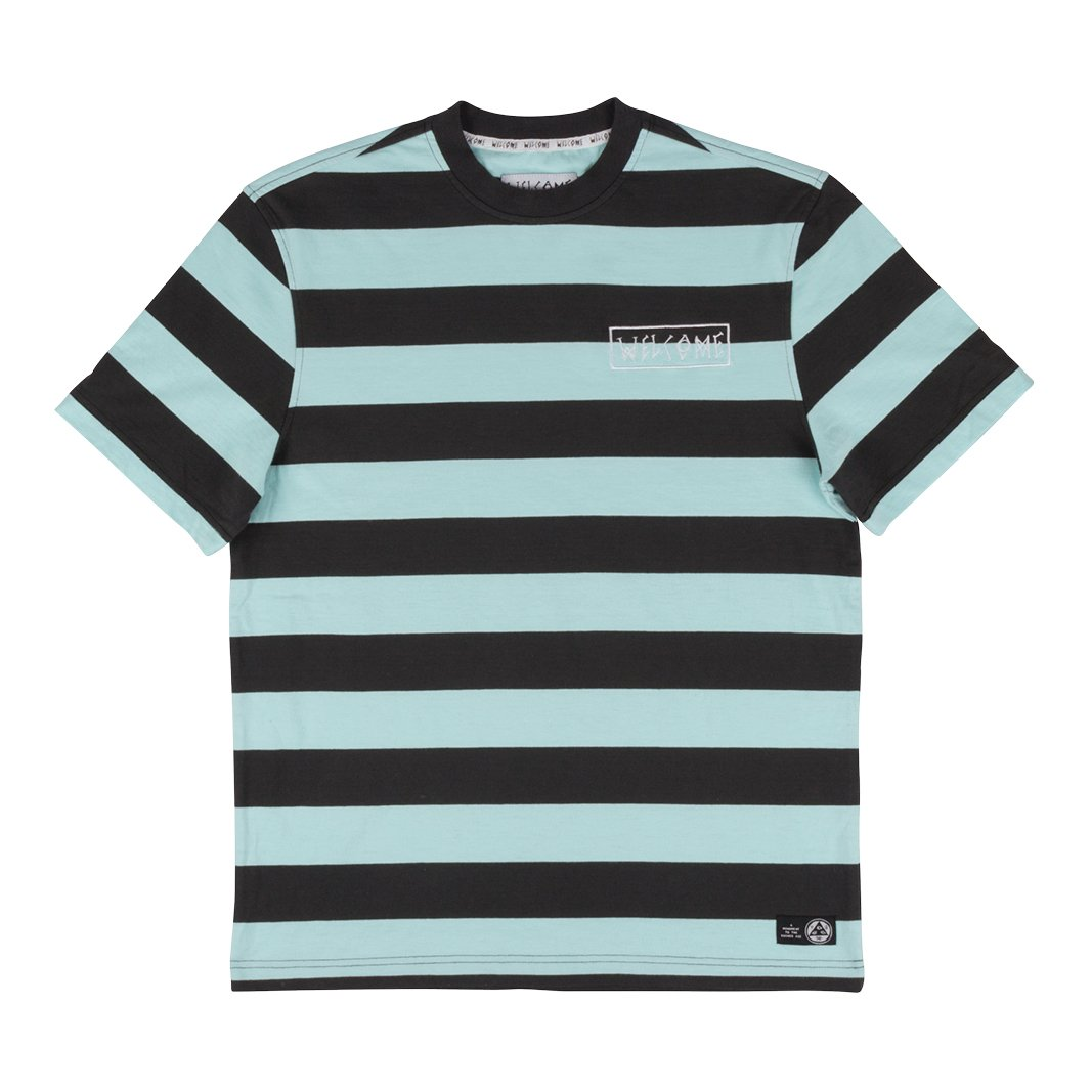 Welcome | Big Beautiful Stripe Short Sleeve Knit (Black/Teal)