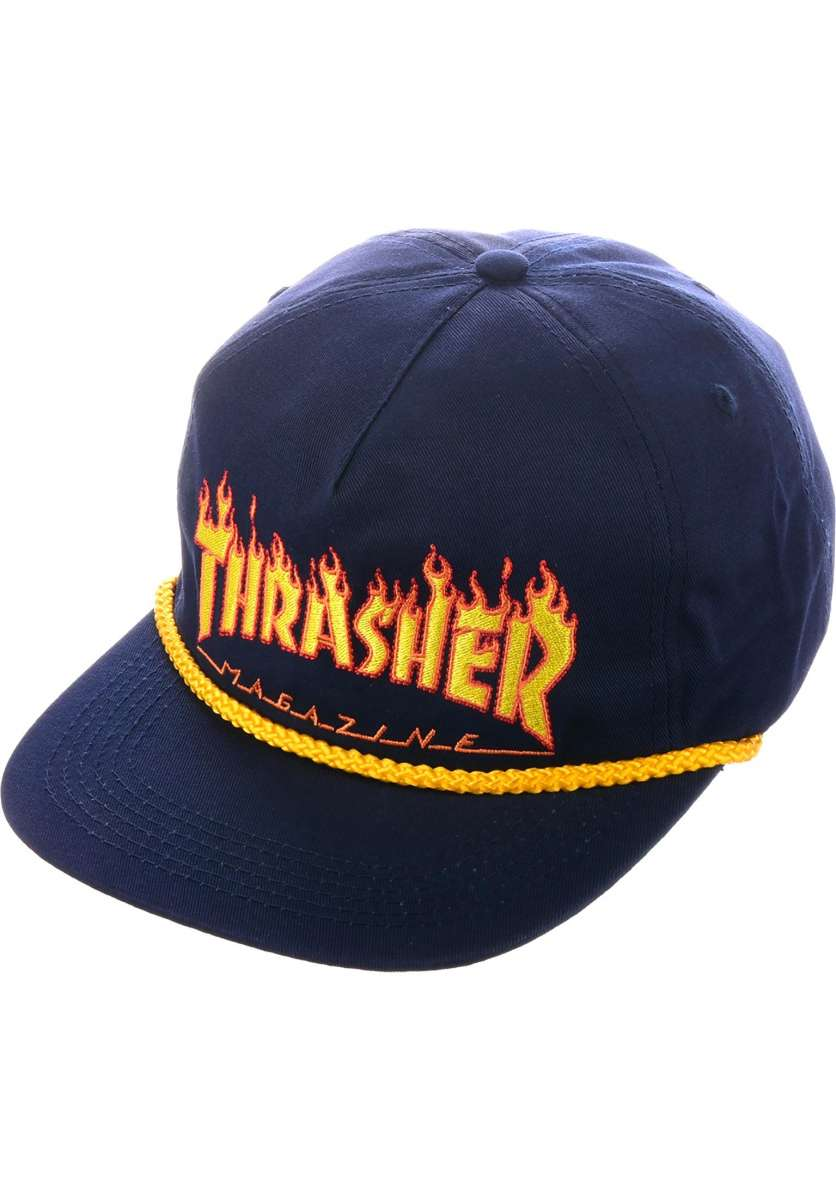 Thrasher | Flame Rope Snapback (Navy)