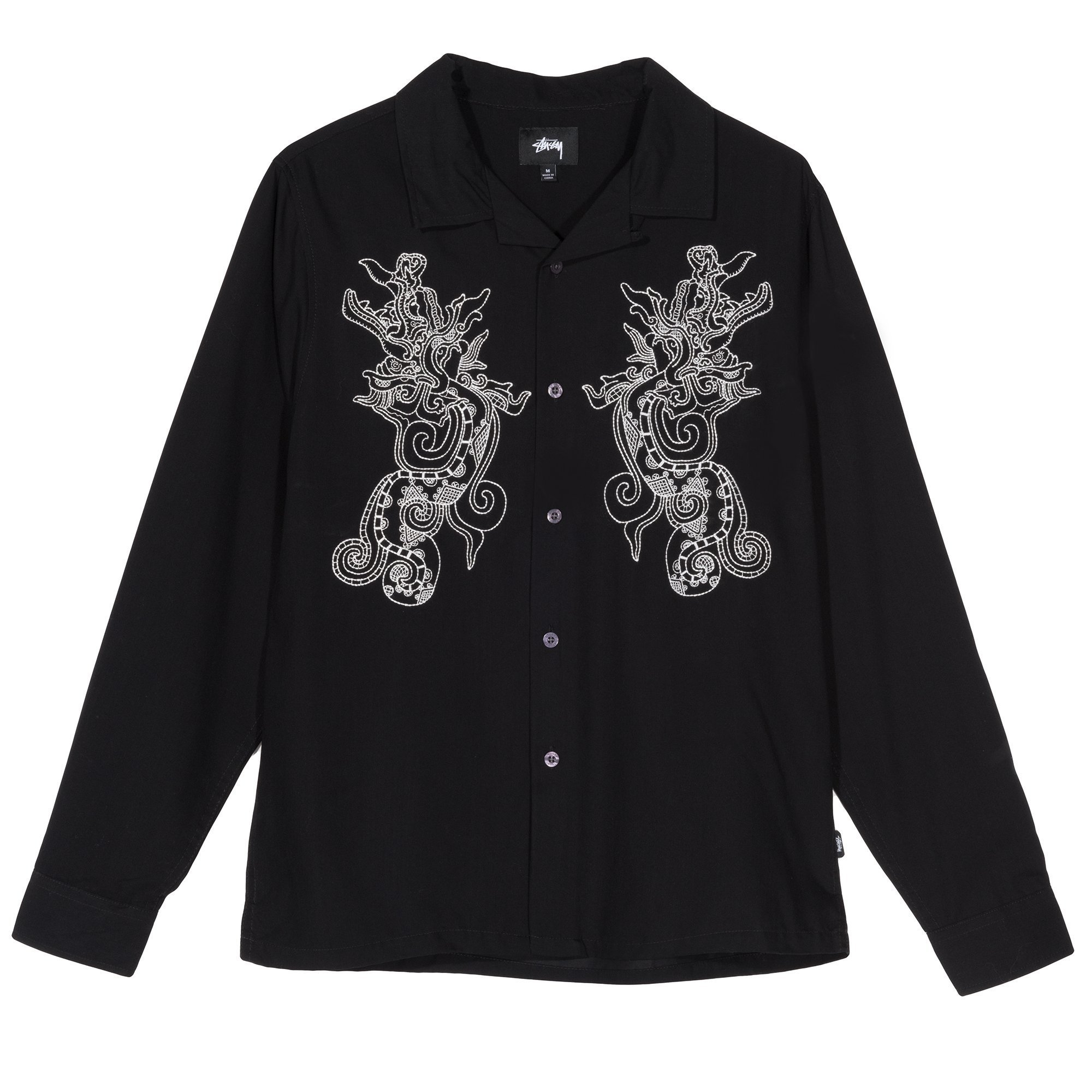 STÜSSY | Embroidered Dragon LS Shirt (Black)
