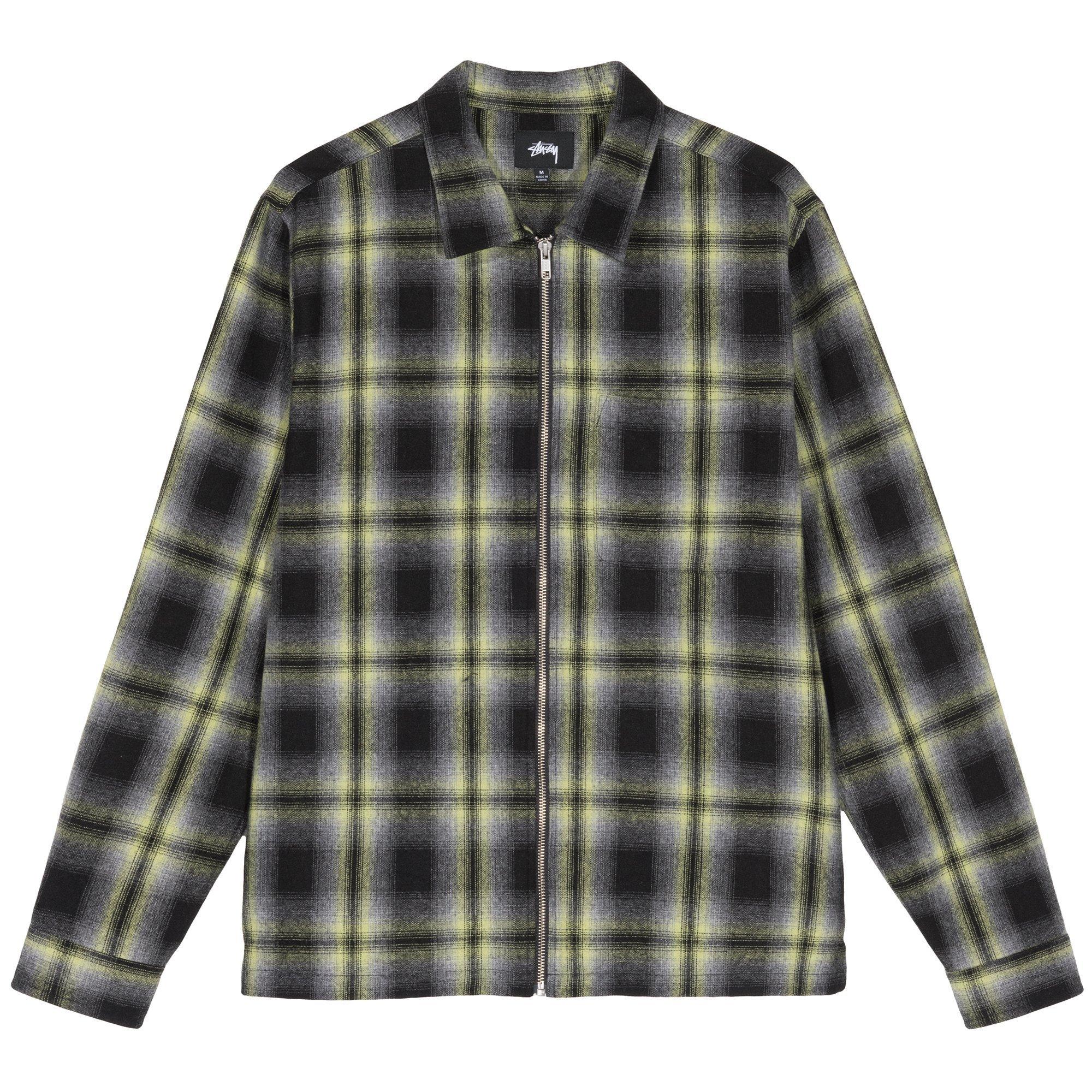 STÜSSY | Gunn Plaid Zip Up Ls Shirt (Black)