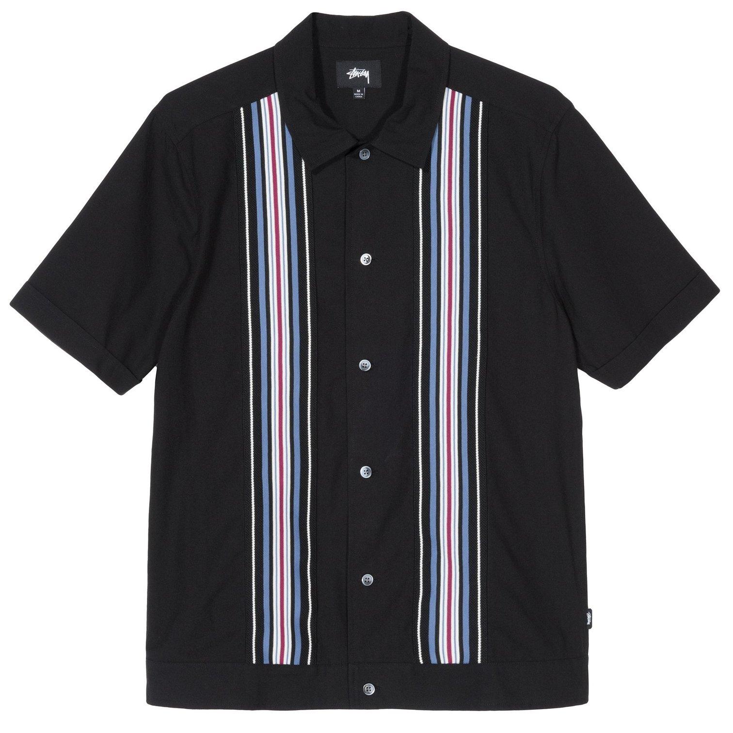 Stüssy | Striped Knit Panel Shirt (Black)