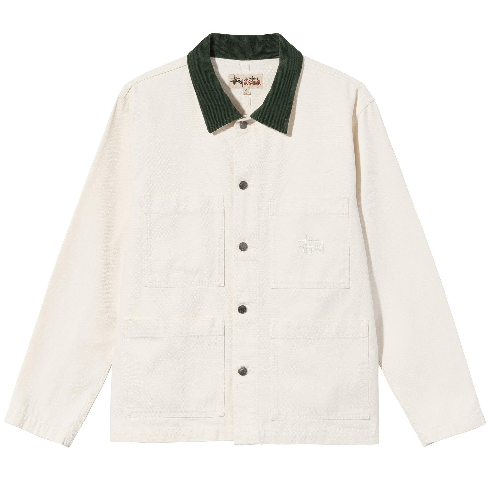 Stüssy   Cord Collar Canvas Chore Jacket (Bone)